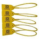 DOJA BARCELONA | Precintos de Seguridad de Plastico Amarillos | 200 unidades | 24cm de Largo | Bridas numeradas para maleta, cajas, contenedores, puertas, bolsas, camion, logistica entre otros usos.