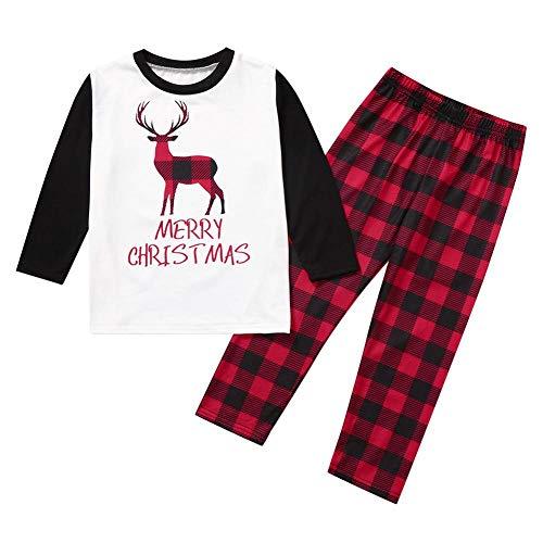HOHOFAN Weihnachten Pyjamas Parenting Pyjamas Set Christmas Elk Kids Papa Mama Familie passende Kleidung