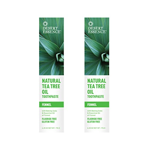 Desert Essence Natural Tea Tree Oil Fennel Toothpaste, 6.25 Ounce - 2 per case.