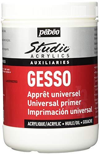 Unbekannt Pébéo - Studio Acrylics Gesso 1 litro - Gesso Bianco - Sottofondo Colori acrilici per preparare Tutti i Supporti - Barattolo di Gesso Acrilico Bianco 1 litro
