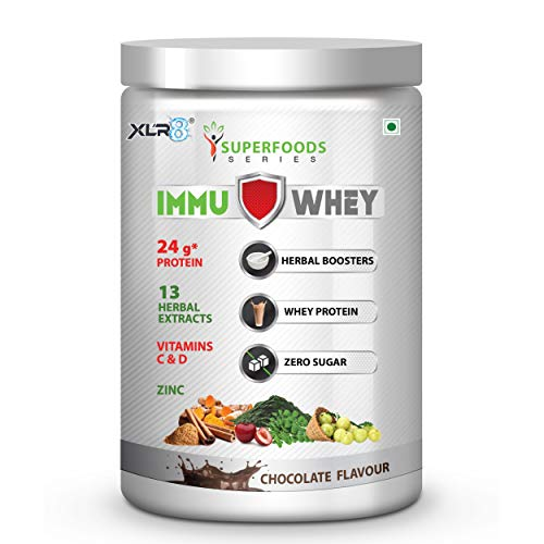 XLR8 ImmuWhey Whey Protein 24 g protein with 13 herbal extracts, Vitamins C, D & Zinc, 10 servings (Chocolate Flavour)