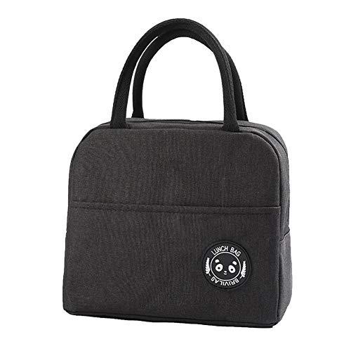 Isolatietas, hoogwaardig, duurzaam herbruikbaar, draagbaar bento-box, handtas, geschikt voor school, werk, picknick zwart