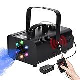 Máquina de niebla portátil con 6 LED RGB U'king 1200W Máquina de humo de control remoto inalámbrico para fiestas, bodas, Halloween, DJ, efecto de escenario (negro)