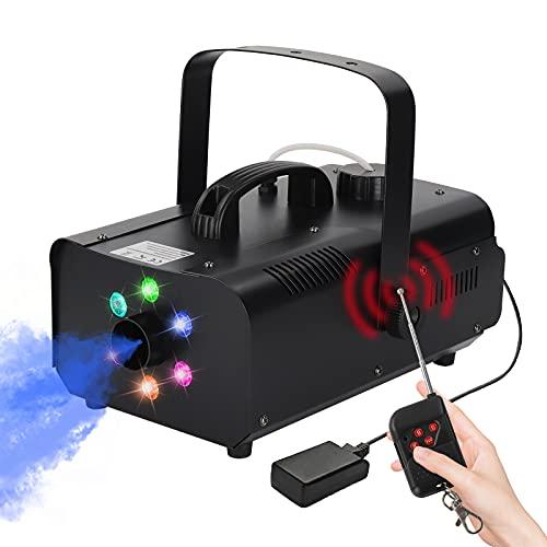 Nebelmaschine 1200W mit 6 RGB LED Bühnenlicht und Kabelloser Fernbedienung, 1L Rauchmaschine fog Maschine für Weihnachten Party, Hochzeits, Halloween DJ Disco (schwarz)