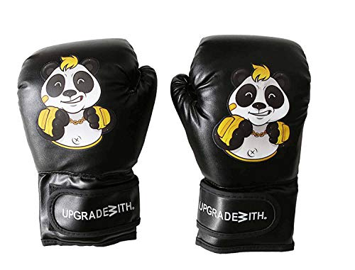 UpgradeWith Kids Punching Gloves –Boxing Training Gloves for Kids Ages 5-12 Years Old – PU Leather and Double Density Foam Mitts for Toddlers with Hook and Loop Closure – Cool Panda Cartoon