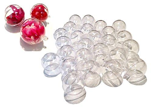 Crystal King - 25 sfere in acrilico, 4cm, sfere per fai da te in materiale acrilico trasparente, divisibili, trasparenti, palline in plastica acrilica