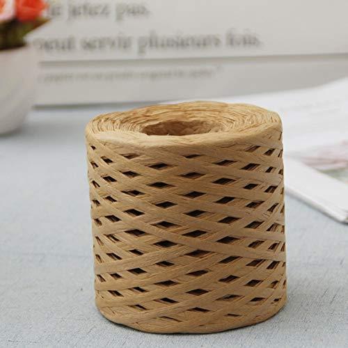 FEIZAI 200 m Rafia cintas de papel embalaje cuerda para regalo fiesta caja envoltura DIY manualidades decoraciones color hornear embalaje