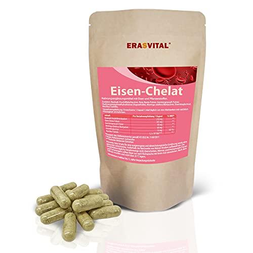 ERASVITAL® Eisen-Chelat (Bisglycinat) I 90 Kapseln = 69g I Vegan I hohe Bioverfügbarkeit I mit weiteren natürlichen