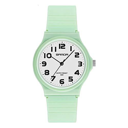 ZHEBEI Las mujeres reloj de moda tendencia al aire libre temperamento salvaje pequeño fresco femenino estudiante juventud casual ins viento reloj verde