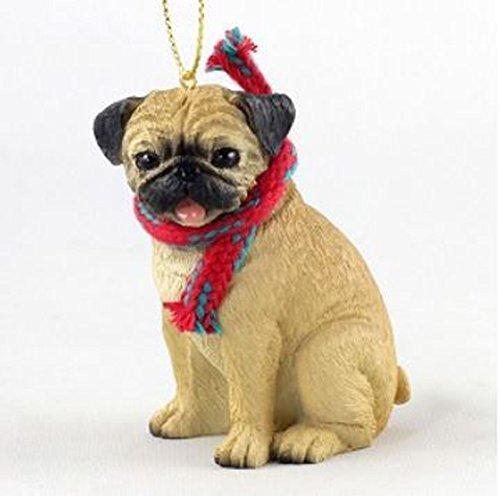 That's Original Pug (Fawn) Perro con Bufanda Adorno de Navidad (Gran versión de 3Pulgadas)