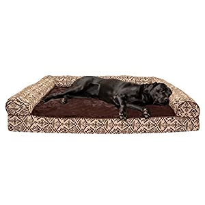Furhaven Pet Dog Bed – Orthopedic Plush Kilim Southwest Home Decor Traditional Sofa-Style Living Room Couch Pet Bed with Removable Cover for Dogs and Cats, Desert Brown, Jumbo Plus