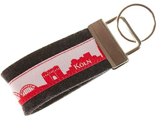 KÖLN Schlüsselband Mini aus Filz | Skyline Köln in rot-Weiss | Geschenk für Damen und Herren | Filz 100% Wolle (Merinowolle)