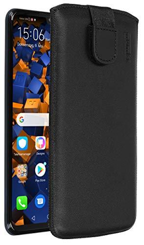 Mumbi echt lederen hoes compatibel met Huawei P20, (lus met terugtrekfunctie, uittrekhulp), wit, lederen case klap handtas cover, Huawei P30 Lite, zwart