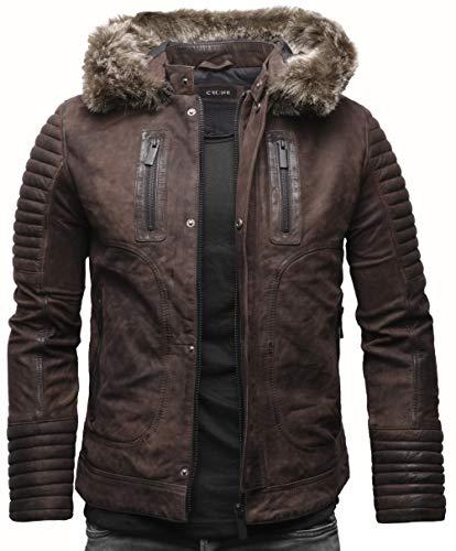 Crone Corvin Herren Fellkragen Lederjacke Eco Leder Jacke mit abnehmbarem Pelzkragen (S, Elephant (Nubukleder))