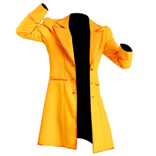 e Genius Uomo Classico Cappellaio Matto Giallo Ecopelle Cappotto Costume Yellow Faux Leather Trench Coat 2XL