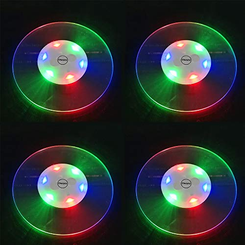 Posavasos de cóctel iluminado, acrílico luminoso, barra de cerveza, posavasos de bebida, barra de flash, lámpara base de iluminación para club, boda, bar, decoración de fiesta (4 piezas)