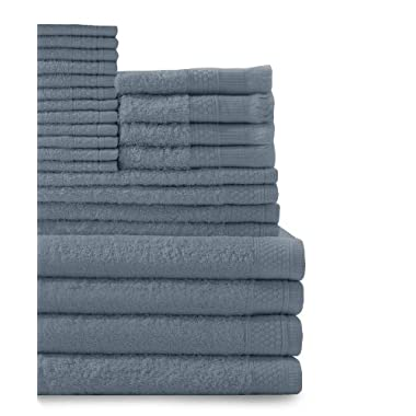 Baltic Linen Company Multi Count 100-Percent Cotton Complete 24-Piece Towel Set, Smoke Blue