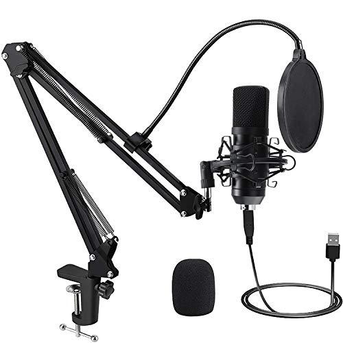 PREUP USB Mikrofon PC mit Mikrofonständer, Stoßdämpferhalter, Windschutzscheibe und Popfilter Professionelle Studio Mikrofon für Recorder, Streaming, Broadcast, YouTube, Video etc.