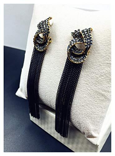 TFGUOqun Moda Luxury Rhinestone Retro Tassel Pendientes Accesorios de la Fiesta de Las Mujeres Cadena Negra Pendientes de Cadena Larga Pendientes de caída para Mujeres, (Metal Color : Antique Gold)