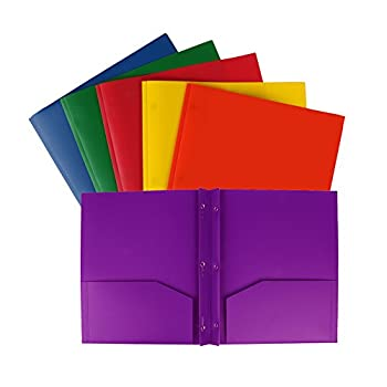 Eagle Plastic Pocket Folder Heavy Duty 3-Prong 2 Pockets Letter Size Assorted Colors Pack of 6  3-Prong 2-Pocket