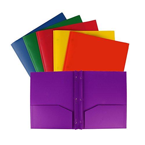 Eagle Plastic Pocket Folder, Heavy Duty, 3-Prong, 2 Pockets, Letter Size, Assorted Colors, Pack of 6 (3-Prong 2-Pocket)
