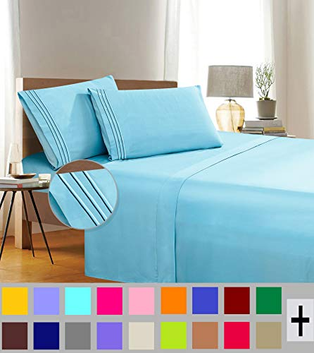 Elegant Comfort 1500 Thread Count Wrinkle & Fade Resistant Egyptian Quality 3-Piece Bed Sheet Set Ultra Soft Luxurious Set Includes Flat Sheet, Fitted Sheet and 1 Pillowcase, Twin/Twin XL, Aqua Wish