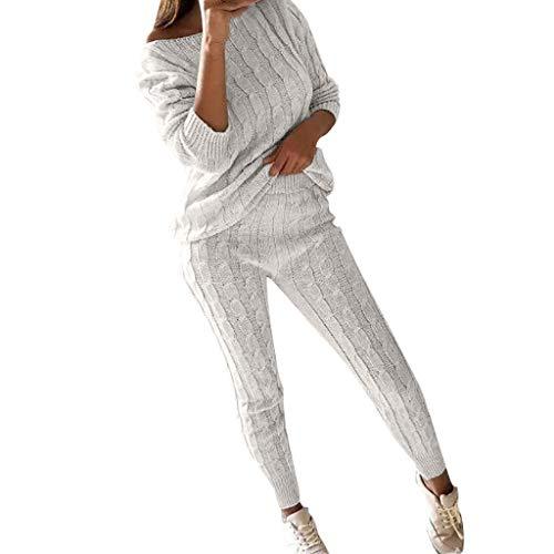 Homebaby Tuta da Ginnastica Donna Spalla Fredda Tute Felpa + Pantaloni Set Ragazze Cappotto Pullover Tops Tuta Leggings Training Ispessisce Sportivo Caldo a Maglia Completo Sportswear