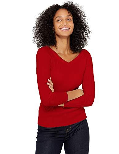 State Cashmere Damen Strickpullover mit V-Ausschnitt 100% reinem Kaschmir Feinstrick Langarm Rippen Pullover (L, Rot)