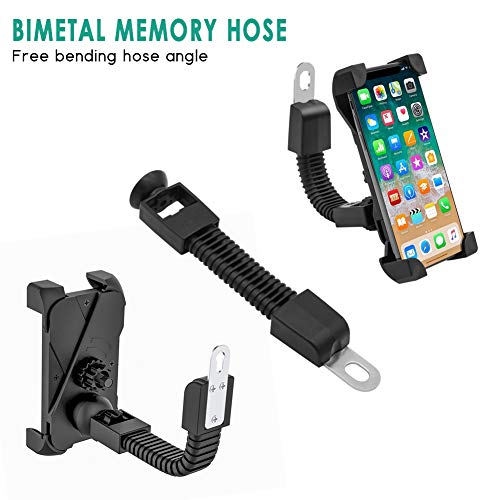 Leagway Motorcycle Phone Holder, Motorcycle Motorbike Phone Mount Holder Handlebar for 3.5-6.5 inch iPhone 8 7 6 6s 7Plus 5 5s, Samsung Galaxy S5 S6 S7 S8 Smartphones, 360 Degree Rotation (Black)