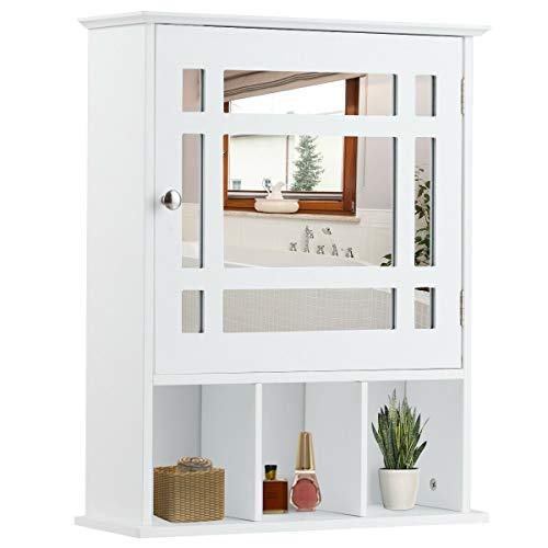 Tangkula Mirrored Medicine Cabinet, Bathroom Wall Mounted Storage Cabinet with Adjustable Shelf and 3 Open Compartments (White)