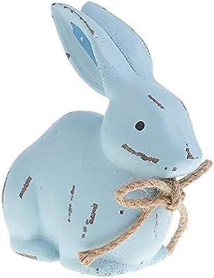 Ceramic White Bunny Rabbit Figurine Statue Centerpiece Rustic Easter Spring Deco