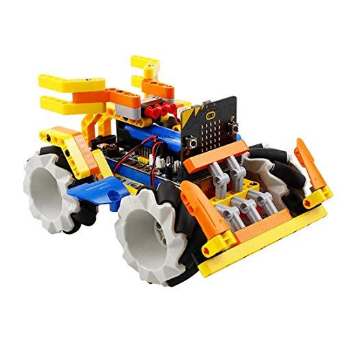 LMIITAM Intelligent Programmierbarer Roboter, Baustein-Kit, Mecanum Wheel Roboter Fahrzeug mit Micro: Bit Board für Micro: bit