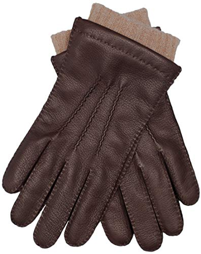 EEM gants EDGAR pour hommes en peau de cerf, cousu à la main, doublure en laine et cachemire, marron M