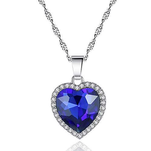 Edelstahl Damen Halskette Mit Vielen Zirkonia Steinchen Besetzt An Der Kette Und Am Anhänger Inkl,Blau
