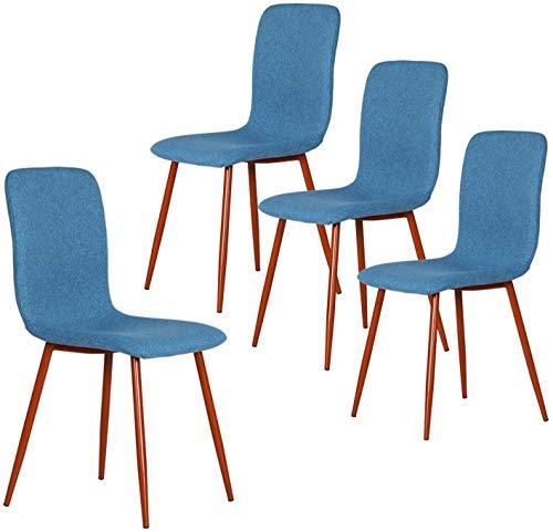 Coavas Esszimmerstühle 4er Set Küchenstühle Schöne Form Bequeme Stühle mit stabilen Metallbeinen für Esszimmer, Blau