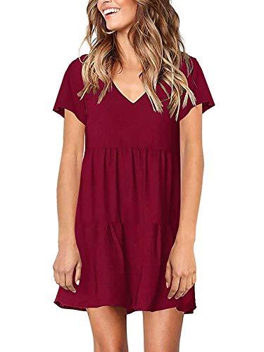 MISSLOOK Women's Short Sleeve Dress V Neck Ruffle Loose Mini Dress Swing Shift Dresses(Burgundy-2,S)