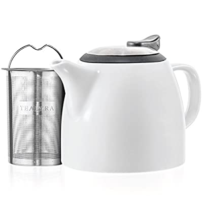 Tealyra - Drago Ceramic Small Teapot White - 22oz (2-3 cups) - With Stainless Steel Lid and Extra-Fine Infuser for Loose Leaf Tea - Lead-free - 650ml