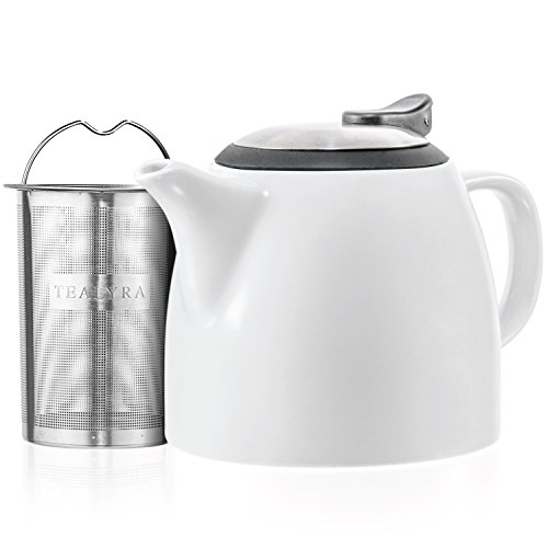Tealyra  Drago Ceramic Small Teapot White  22oz 23 cups  With Stainless Steel Lid and ExtraFine Infuser for Loose Leaf Tea  Leadfree  650ml