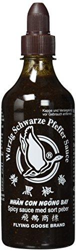 FLYING GOOSE würzig schwarze Pfeffer Sauce - scharf, schwarze Kappe, Würzsauce aus Thailand, 2er Pack (2 x 455 ml)