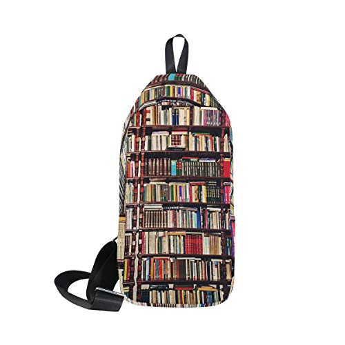 Ahomy Schulter-Rucksack für Herren und Damen, altes Bücherregal, Messenger-Tasche, Reisetasche