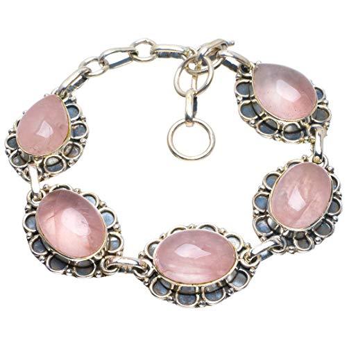 925er Sterling Silber Rose Quartz Einzigartig Handgefertigt Armbänder 19,05cm Pink B4280