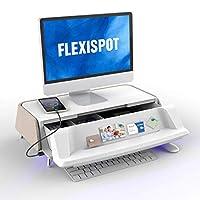 FLEXISPOT モニター台 机上台 モニタースタンド DIY引き出し USB充電端子付き 耐荷重10KGまで デスク収納 S6 (ベージュS6T)