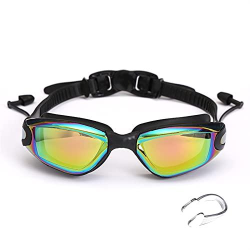 Gafas de Natación Gafas Profesionales de natación con Tapones para los oídos. Clip de Nariz galvanoplato de Silicona Impermeable