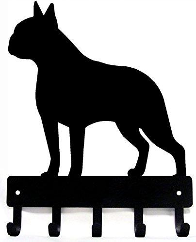 The Metal Peddler Boston Terrier Key Rack Dog Leash Hanger - Large 9 inch Wide - Made in USA