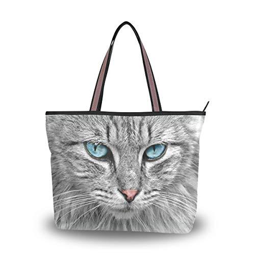 NaiiaN Einkaufstasche Umhängetaschen Schöne Katze mit blauen Augen Tier für Frauen Mädchen Damen Student Vögel Geldbörse Shopping Handtaschen Leichter Gurt