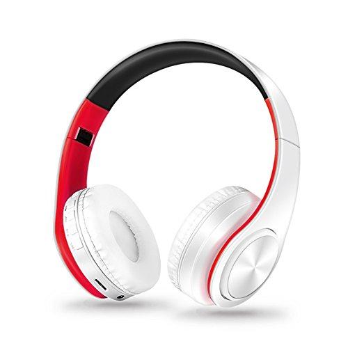 OWIKAR kabellose Bluetooth-Kopfhörer, faltbar, Freisprecheinrichtung, Geräuschunterdrückung, Stereo, kabellos, unterstützt TF-Karte, Head-Mount, weiche Kopfhörer für PC, Handys und TV