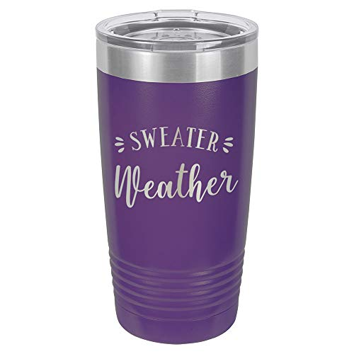 SWEATER WEATHER Purple 20 oz Drink Tumbler With Straw | Engraved Stainless Steel Travel Mug | Funny Quote Gift Idea | OnlyGifts.com
