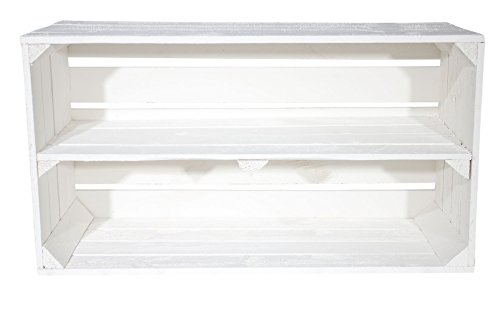 Große Shabby Chic Holzkiste mit Mittelbrett 75x40x26