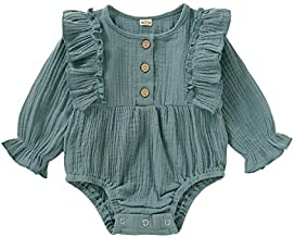 Baby Girl Romper Fall Long Sleeve Jumpsuit Outfit Green Onesies Cotton Linen Bodysuit Infant 3-6 Months Girl Clothes