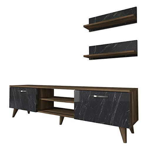 Alphamoebel 5149 Ayden Wohnwand Anbauwand TV Lowboard modern für Wohnzimmer, Holz, Walnuss Marmor Optik, 2 Hängeregale, viel Stauraum Ablagefächer, 150 x 40,6 x 30 cm